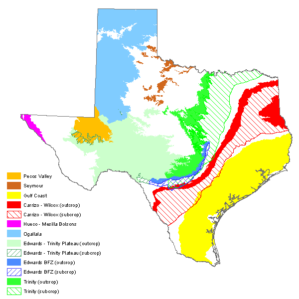 Map of major aquifers of Texas.