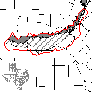 This map shows the extent and location of the Edwards BFZ Aquifer (San Antonio segment) GAM.