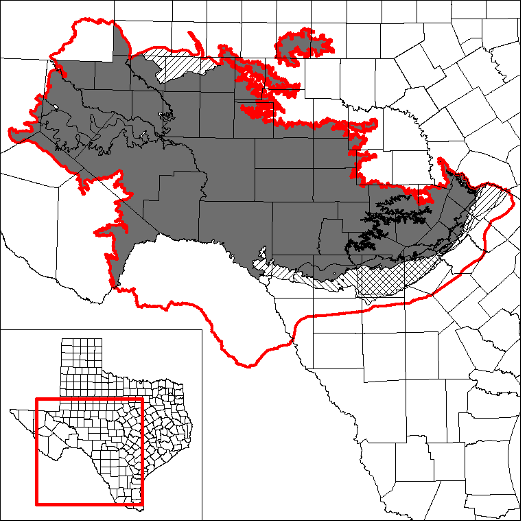 This map shows the extent and location of the northern portion of the Edwards and Trinity Regional GAM.