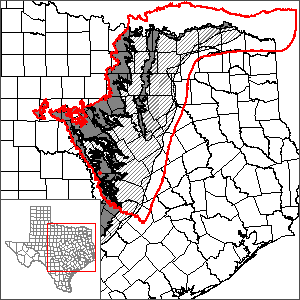 This map shows the extent and location of the Trinity (northern portion) and Woodbine Aquifers GAM.