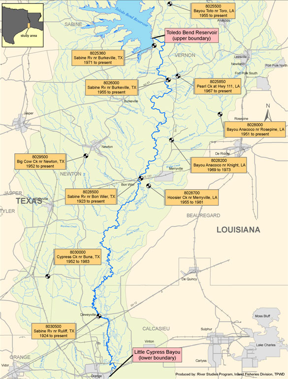 Sabine River Map Lower Sabine   Instream Flow Studies | Texas Water Development Board