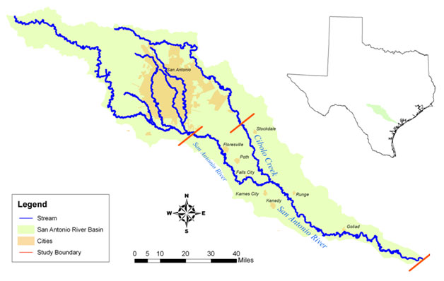 Lower San Antonio River and Lower Cibolo Creek Basin Map