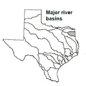 Texas map showing Cypress river basin outlines