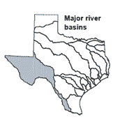 Texas map showing Rio Grande river basin outlines